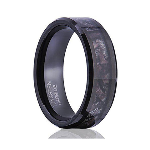 8MM Camouflage Hunting Mens Black Tungsten Ring Camo Polished Wedding Band, Tungsten Ring, Eversmart Beauty