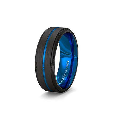 Mens Wedding Band 8mm Black Brushed Tungsten Ring Thin Blue Groove Step Edge Comfort Fit, Tungsten Ring, Heaven Culture Jewelry