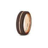 Brown and Rose Gold Tungsten Ring, , Heaven Culture Jewelry