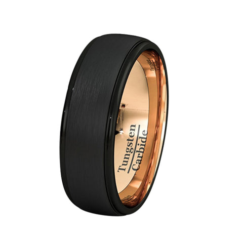 Mens Wedding Band Two Tone 8mm Black Tungsten Ring Brushed Beveled Edge Inside Rose Gold Comfort Fit, Tungsten Ring, Eversmart Beauty