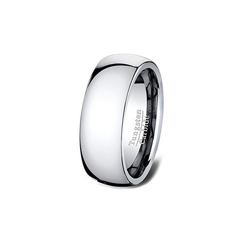 Classic Polished Tungsten Ring Wedding Band 8mm Dome Comfort Fit, Tungsten Ring, Heaven Culture Jewelry
