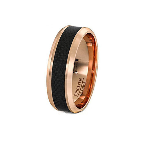 Rose Gold and Black Carbon Fiber Tungsten Ring, , Heaven Culture Jewelry