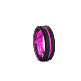 Custom Hot Pink Magenta and Black 6mm Tungsten Wedding Ring, Magenta Tungsten Ring, Heaven Culture Jewelry