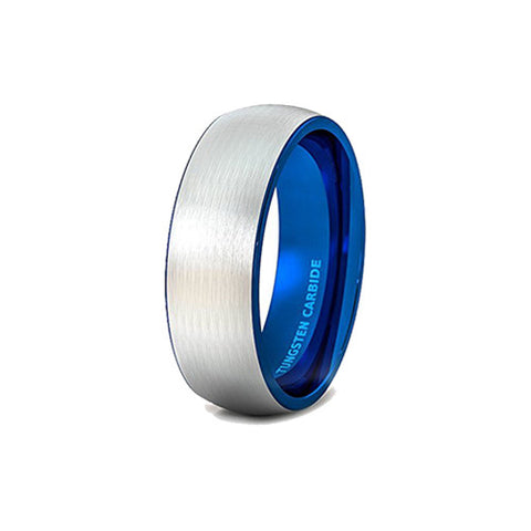 Mens Wedding Band Tungsten Ring 8mm Outside Brushed Dome Inside Blue Comfort Fit, Tungsten Ring, Heaven Culture Jewelry