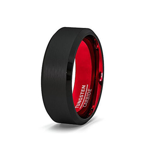 Red and Black 8mm Tungsten Wedding Ring, Tungsten Ring, Eversmart Beauty