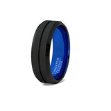 Black and Blue Tungsten Ring with Groove Beveled Edge, Tungsten Ring, Eversmart Beauty