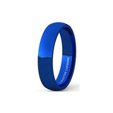 Mens Wedding Band Tungsten Ring 6mm Blue Polished Dome Comfort Fit, Tungsten Ring, Eversmart Beauty