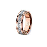 Rose Gold and Cubic Zircon Tungsten Ring, , Heaven Culture Jewelry