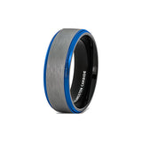 Mens Wedding Band Tungsten Ring White Brushed Surface Black Inside Blue Step Edge Comfort Fit, Tungsten Ring, Eversmart Beauty