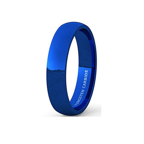 Mens Wedding Band Tungsten Ring 6mm Blue Polished Dome Comfort Fit, Tungsten Ring, Heaven Culture Jewelry