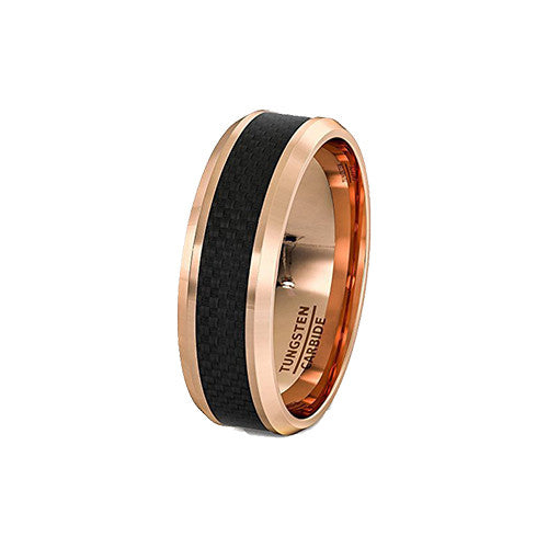 Rose Gold and Black Carbon Fiber Tungsten Ring, Tungsten Ring, Heaven Culture Jewelry