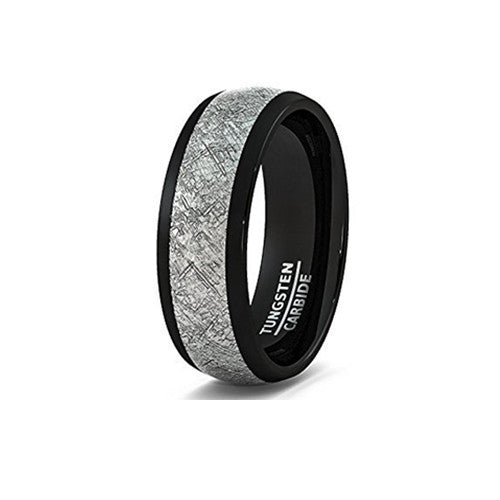 Mens Wedding Band 8mm Black Tungsten Ring with Imitation Meteorite Texture Dome Comfort Fit, Tungsten Ring, Heaven Culture Jewelry