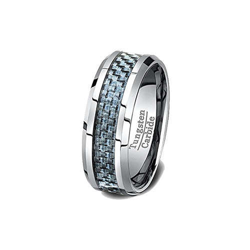 Tungsten Ring Polished 8mm with Blue Carbon Fiber Inlay Beveled Edge Comfort Fit, Tungsten Ring, Heaven Culture Jewelry
