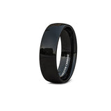 Mens Wedding Band 6mm Classic Black Polished Tungsten Ring Dome Comfort Fit, , Heaven Culture Jewelry