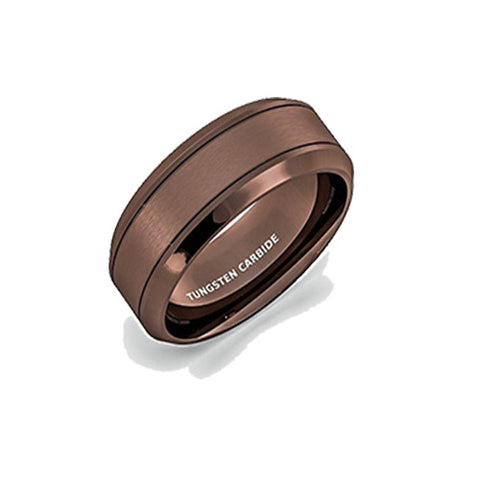 Mens Wedding Band Rare Brown Tungsten Ring Wire Brushed Brushed Comfort Fit, Tungsten Ring, Heaven Culture Jewelry