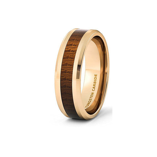 Rose Gold and Wood Tungsten Ring, , Heaven Culture Jewelry