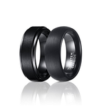 Set of 2 (8mm) Black Tungsten Carbide Wedding Rings For Men, Matte Center and Domed Round Brushed Bands, Tungsten Ring, Eversmart Beauty