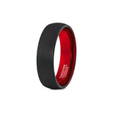 Red and Black 6mm Tungsten Wedding Ring, Tungsten Ring, Eversmart Beauty