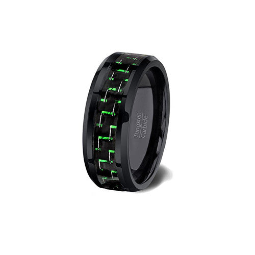 Mens Green and Black Tungsten Wedding Anniversary Ring 6mm Comfort Fit, Green Tungsten Ring, Heaven Culture Jewelry
