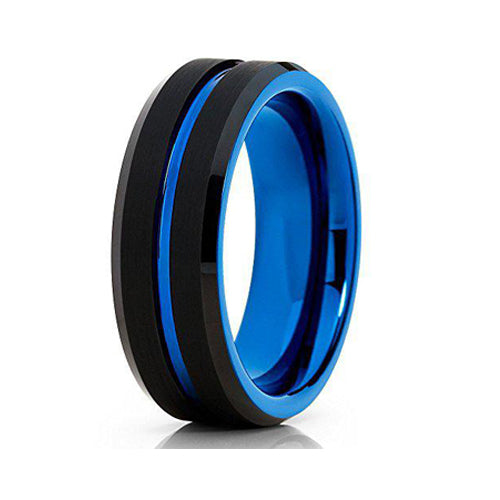 8mm Black Tungsten Carbide Wedding Ring Blue Groove Beveled Edge Design Mens Band, Tungsten Ring, Heaven Culture Jewelry