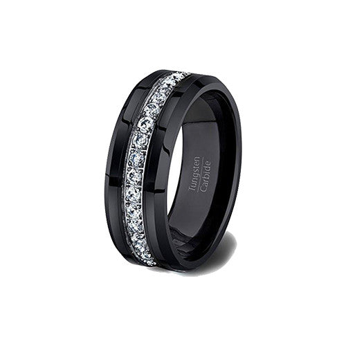 Mens Wedding Band Black 8mm Tungsten Ring Polished Fully Stacked Cubic Zircon Beveled Edge Comfort Fit, Tungsten Ring, Heaven Culture Jewelry