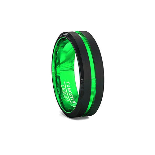 Mens Rare Green and Black Tungsten Wedding Anniversary Ring 8mm Comfort Fit, Green Tungsten Ring, Heaven Culture Jewelry
