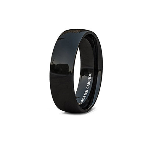 Mens Wedding Band 6mm Classic Black Polished Tungsten Ring Dome Comfort Fit, , Eversmart Beauty