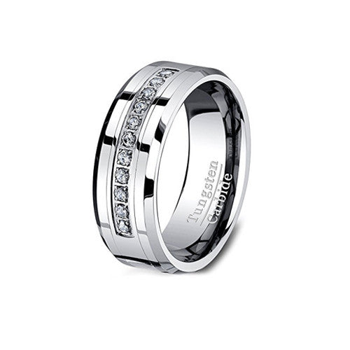 Tungsten Carbide Ring with Cubic Zircon Wedding Band, , Heaven Culture Jewelry