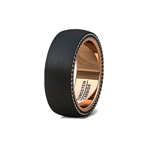 Black and Rose Gold with Black Cubic Zircon Edge Tungsten Ring, Tungsten Ring, Heaven Culture Jewelry