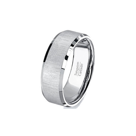 Mens Wedding Bands 8mm Tungsten Ring Satin Finish Beveled Edges Center Comfort Fit, Tungsten Ring, Heaven Culture Jewelry