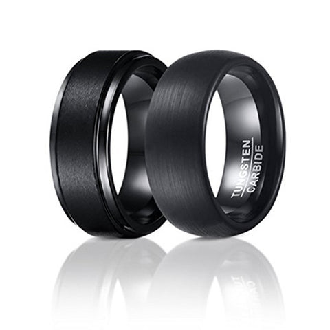 Set of 2 (8mm) Black Tungsten Carbide Wedding Rings For Men, Matte Center and Domed Round Brushed Bands, Tungsten Ring, Heaven Culture Jewelry