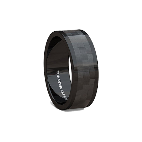 Black Checkered Carbon Fiber Tungsten Ring, Tungsten Ring, Heaven Culture Jewelry