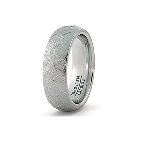 Mens Wedding Band 8mm Tungsten Ring with Imitation Meteorite Texture Dome Comfort Fit, Tungsten Ring, Heaven Culture Jewelry