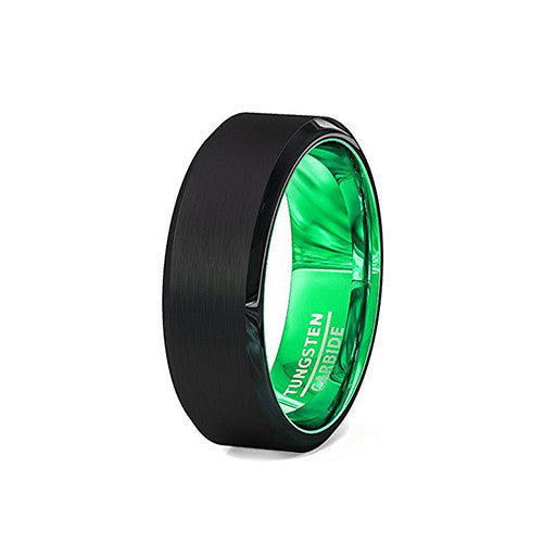 Mens Green and Black Tungsten Wedding Anniversary Ring 8mm Comfort Fit, Green Tungsten Ring, Heaven Culture Jewelry