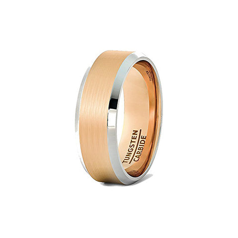 Brushed Rose Gold with White Beveled Edge Tungsten Ring, Tungsten Ring, Heaven Culture Jewelry