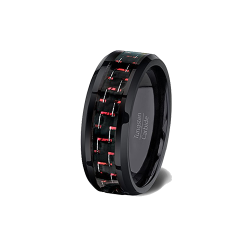 Black and Red Tungsten Ring, Tungsten Ring, Heaven Culture Jewelry