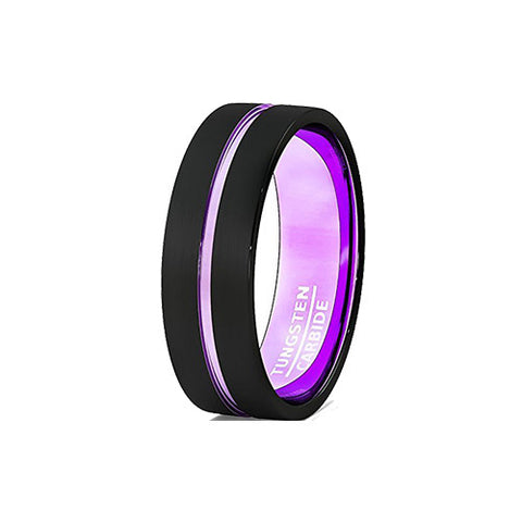 Unique Purple Lavender and Black 8mm Tungsten Wedding Ring