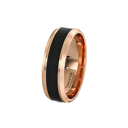 Black Carbon Fiber and Rose Gold Tungsten Ring, Tungsten Ring, Heaven Culture Jewelry