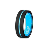 Aqua Turquoise and Black 8mm Tungsten Wedding Ring, Tungsten Ring, Eversmart Beauty