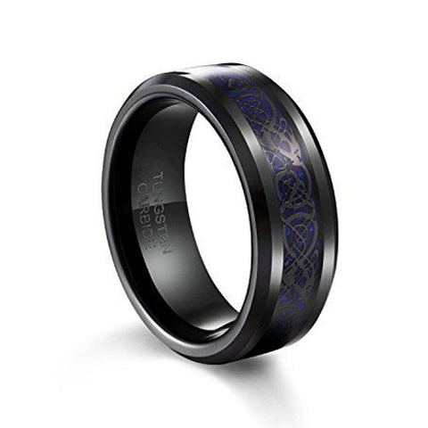 Men's Wedding Band 8mm Blue Carbon Fiber Black Heaven's Aragon Tungsten Carbide Ring, Tungsten Ring, Eversmart Beauty