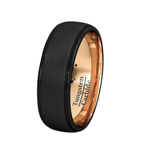 Mens Wedding Band Two Tone Black Rose Gold Tungsten Ring Brushed Center Dome 8mm Comfort Fit, Tungsten Ring, Eversmart Beauty