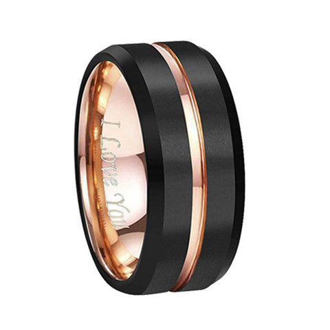 Tungsten Wedding Band Ring 4mm for Men Women Comfort Fit 18K Rose Gold Plated Plated Pipe Cut Flat Brushed Polished