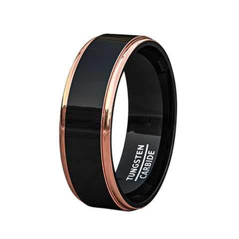 Mens Wedding Band Two Tone Black Polished Tungsten Ring 8mm Rose Gold Step Edge Comfort Fit, Tungsten Ring, Eversmart Beauty