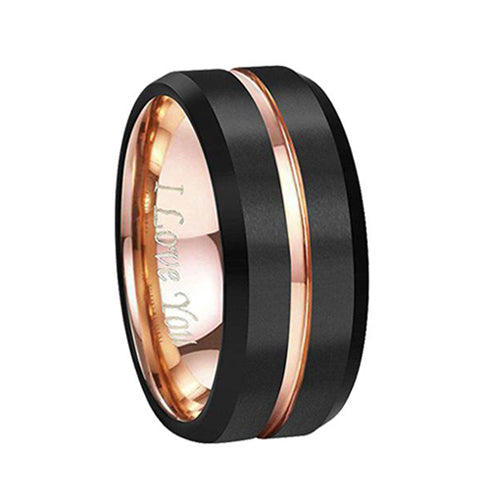 Rose Gold Groove Black Matte Finish Tungsten Ring Engraved I Love You, Tungsten Ring, Eversmart Beauty