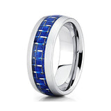 8mm Blue Groove Tungsten Ring, Tungsten Ring, Heaven Culture Jewelry