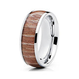 8mm Titanium Ashen Wood Ring Dome Shape Classic Design Unisex Mens Womens Band, Tungsten Ring, Heaven Culture Jewelry