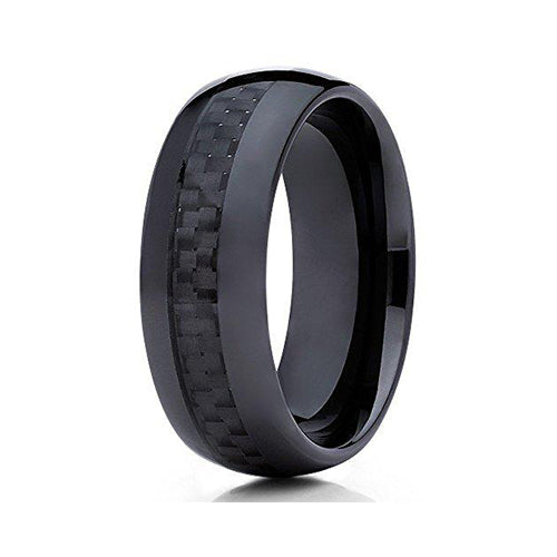 8mm Black Ceramic Wedding Ring Carbon Fiber Inlay Contemporary Unisex Mens Womens Band, Tungsten Ring, Eversmart Beauty