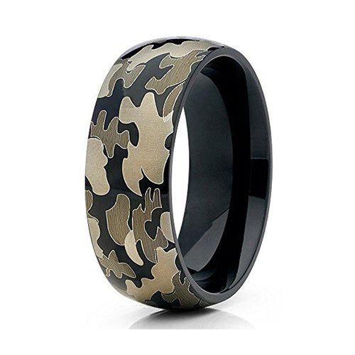 8mm Titanium Wedding Ring Camo Camouflage Army Marines Navy Host of Heaven Comfort Fit Unisex Band, Tungsten Ring, Heaven Culture Jewelry