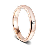 4mm Women's Rose Gold with Zirconia Tungsten Ring, Tungsten Ring, Heaven Culture Jewelry