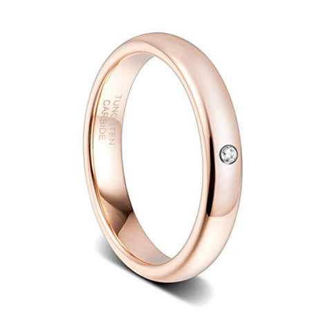 4mm Women's Rose Gold with Zirconia Tungsten Ring, Tungsten Ring, Eversmart Beauty